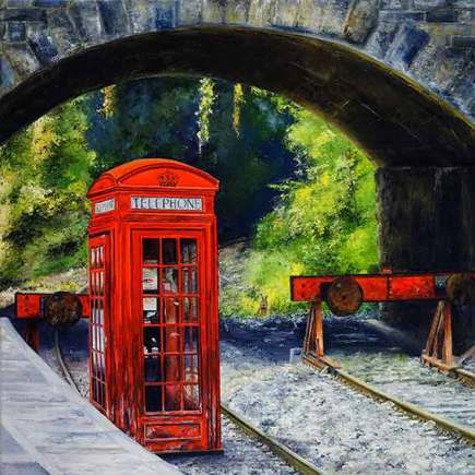 Red telephone box and station