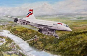 Oil painting on canvas of Concorde over sispension bridge by David Hutton
