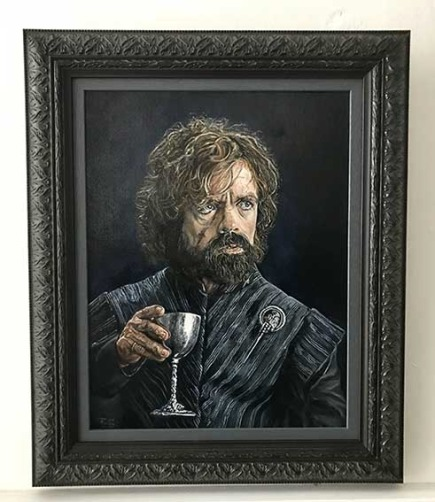 Original oil painting of Tyrion oil on cancas by Zoe Fielding