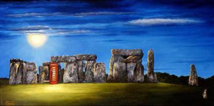 Stone henge with red telephone box