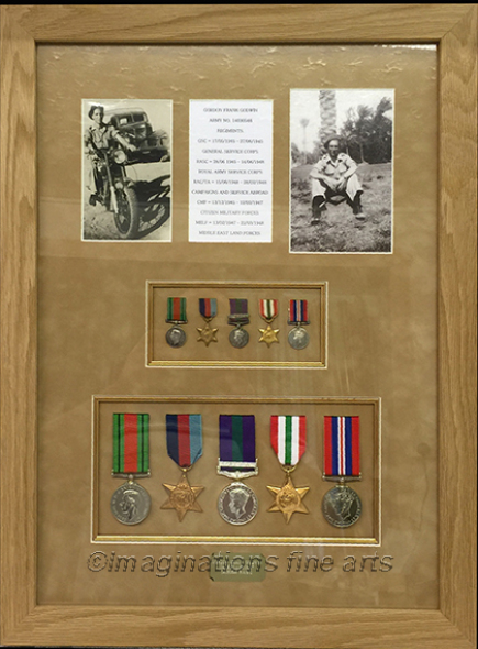 Example of WW2 medals with large and small medals with pictures
