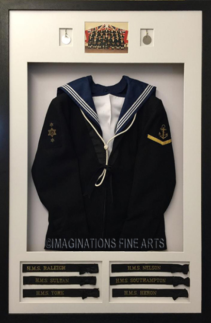 Example of various Royal navy uniform memorabilia mounted and framed