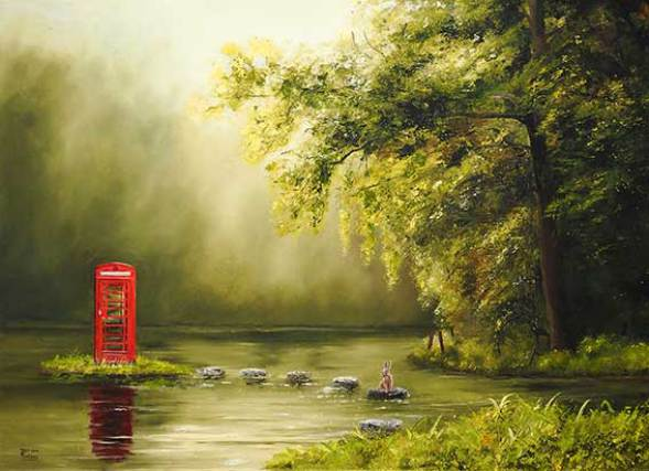 Red telephone box in pond
