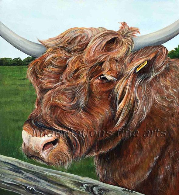 Painted on canvas bulls head